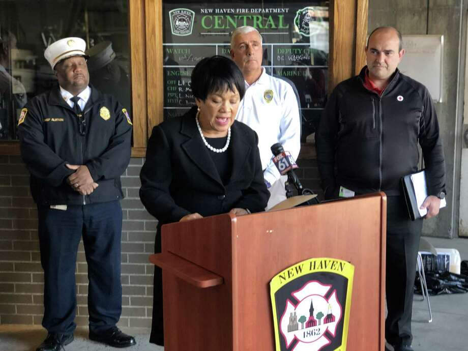 """New Haven firefighters and Red Cross volunteers will offer and install free smoke alarms this Saturday, April 27 as part of the annual """"Sound The Alarm"""" campaign. A press conference about the initiative was held Tuesday. Here, Mayor Toni Harp speaks. Photo: Ben Lambert / Hearst Connecticut Media /"""