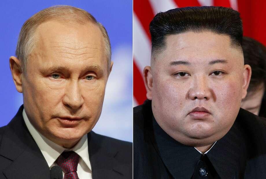Russian President Vladimir Putin, left, and North Korean leader Kim Jong Un will talk Thursday. Photo: Dmitri Lovetsky, Evan Vucci / Associated Press