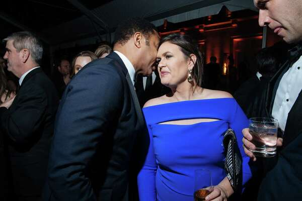 CNN's Don Lemon chats with White House press secretary Sarah Sanders at the White House Correspondents' Association Dinner after-party last year.