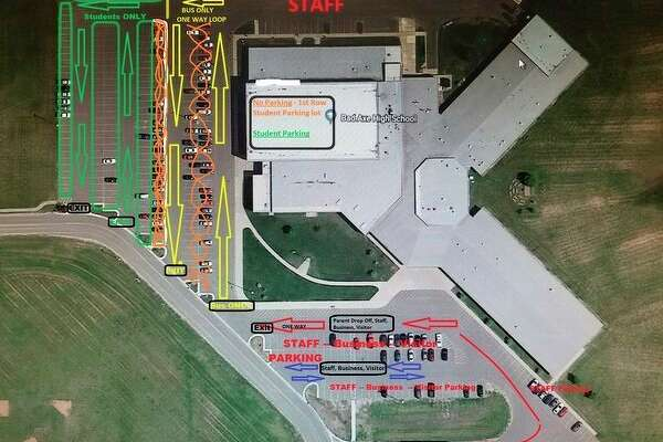 Shown here are the plans for the new traffic pattern at Bad Axe High School. The plan is set to begin next Tuesday and will be piloted over the next few weeks. Previously, students were dropped off at the school's main entrance. Now the bus will drop students off at the entrance near the student parking lot. (Courtesy of Bad Axe High School)