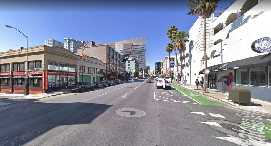 Google street view of 7th Street and Natoma, where a skateboarder was killed in an accident on April 23, 2019. Photo: Google Maps