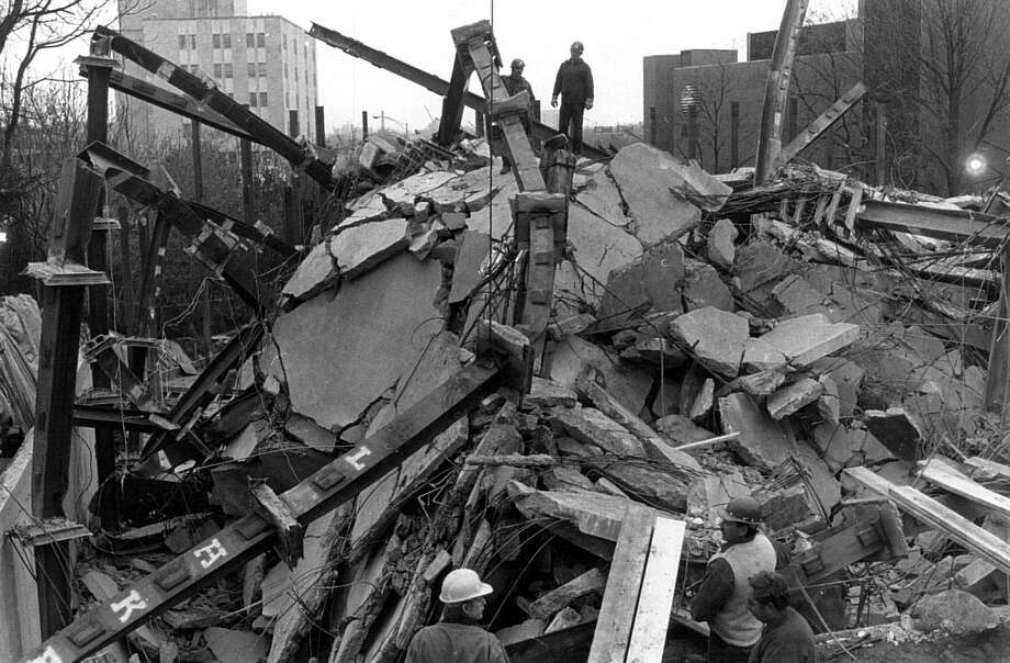 File photograph of the L'Ambiance Plaze collapse, in Bridgeport. The collapse, on April 23rd, 1987, killed 28 construction workers. Photo: File Photo / Connecticut Post file photo