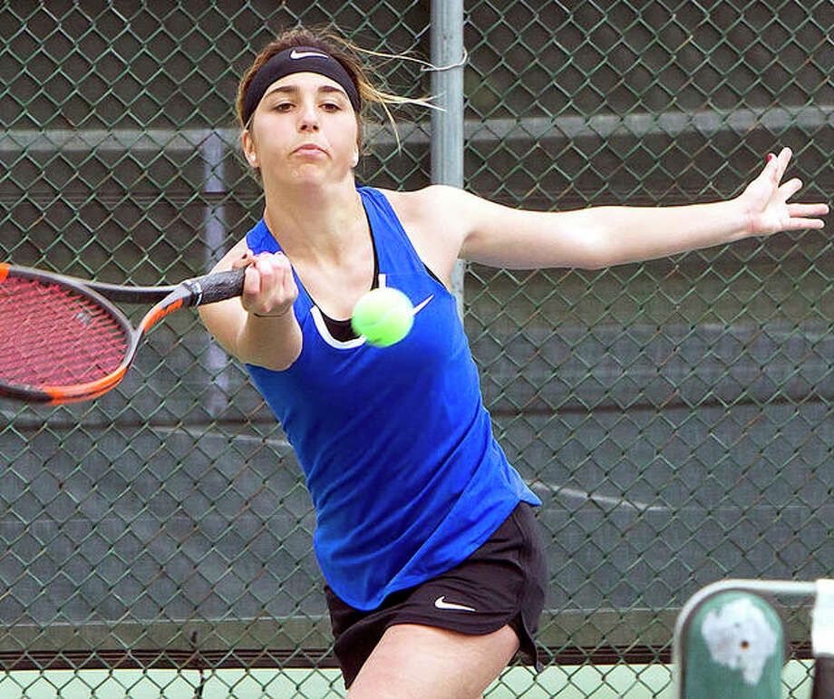 Ashton Tewell of LCCC defeated Kaskasakia's Ruth Moore to win No. 3 singles at the NJCAA Region 24 women's tennis championships in Centralia. Photo: Jan Dona | For The Telegraph