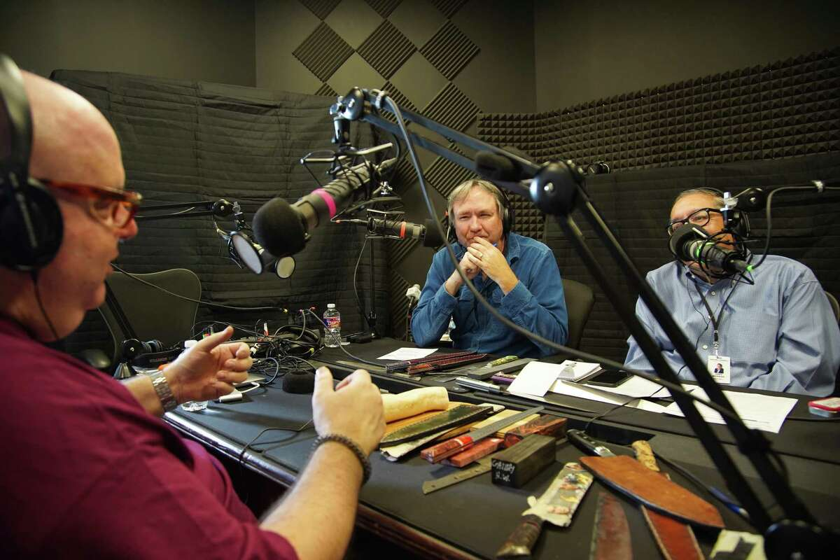 Dr. Stephen Pustilnik, a Houston forensic pathologist and the founder of Houston Edge Works, maker of high-quality, custom stainless steel knives, recording an episode of BBQ State of Mind with Chris Reid and Greg Morago.