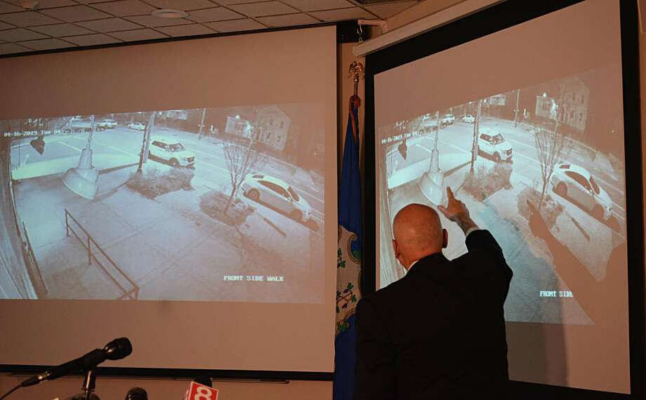 James Rovella, commissioner of the Department of Emergency Services and Public Protection, plays a video of the incident. Photo: Cassandra Day / Hearst Connecticut Media