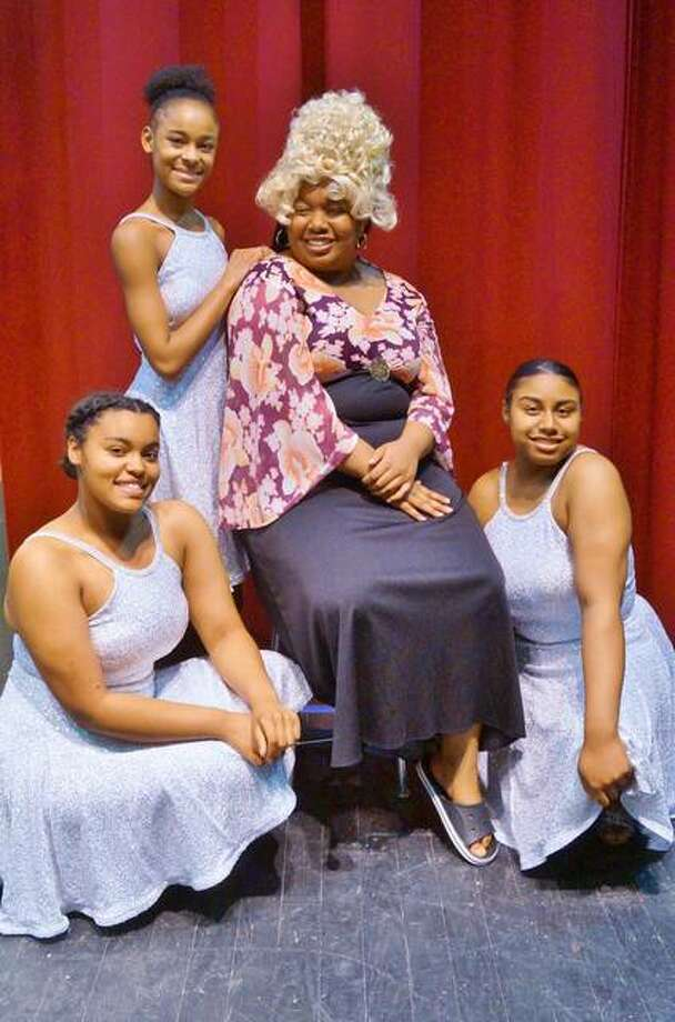 "Dynamites, played by Andrea Richards, Ty'ria Rounds and E'Niya Field, and Morgan Palmer, center, as Motormouth Maybelle in Alton High School's upcoming production of ""Hairspray,"" running May 2 through 5. Photo: Carolyn Simansky 