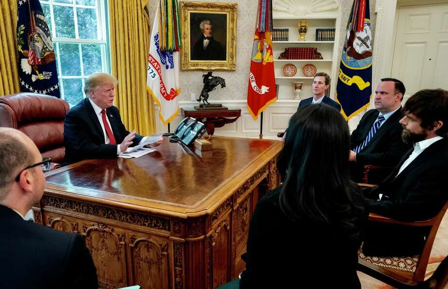President Donald Trump meets with Twitter CEO Jack Dorsey, right, in the Oval Office at the White House on Tuesday, April 23, 2019. Photo: White House