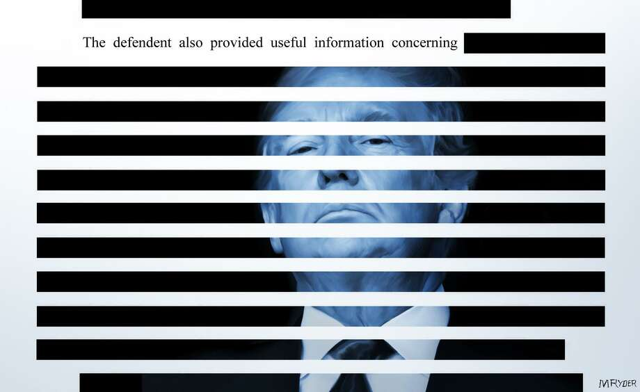 This artwork by M. Ryder refers to Robert Mueller's report and the redactions affixed, preventing the American people from reading its entire contents. Photo: M. Ryder