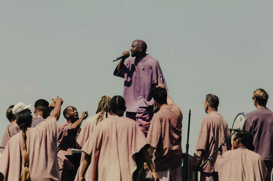 Kanye West performs at the 2019 Coachella Valley Music and Arts Festival in Indio, Calif., April 21, 2019. After a few of his most difficult years and a brief retreat from the spotlight, the rapper returned with Sunday Service ? a performance of spiritual music where he rarely took center stage. (Rozette Rago/The New York Times) Photo: ROZETTE RAGO / NYTNS