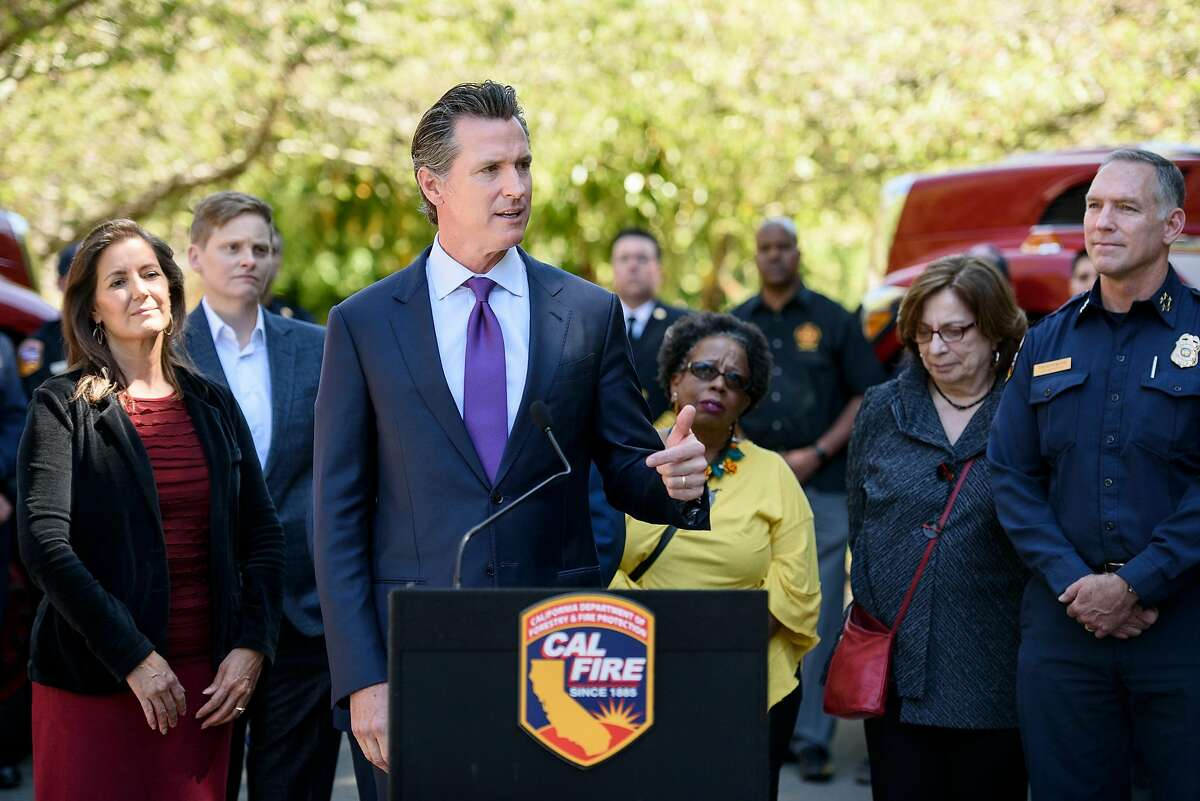 Governor Gavin Newsom speaks during a press conference held in Tilden Park in Berkeley, Calif, on Tuesday, April 23, 2019. Governor Gavin Newsom joins Oakland Mayor Libby Schaaf and Berkeley Mayor Jesse Arregu'n as well as state and local fire officials with Cal Fire to discuss the hazards posed by wildfires at the interface where wild land and urban development meet.