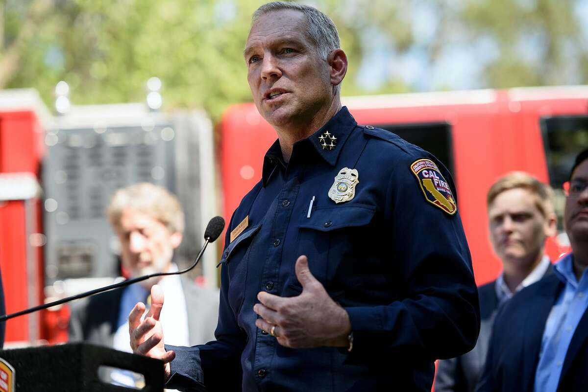 Cal Fire Chief Thom Porter speaks during a press conference held in Tilden Park in Berkeley, Calif, on Tuesday, April 23, 2019. Governor Gavin Newsom joins Oakland Mayor Libby Schaaf and Berkeley Mayor Jesse Arregu'n as well as state and local fire officials with Cal Fire to discuss the hazards posed by wildfires at the interface where wild land and urban development meet.