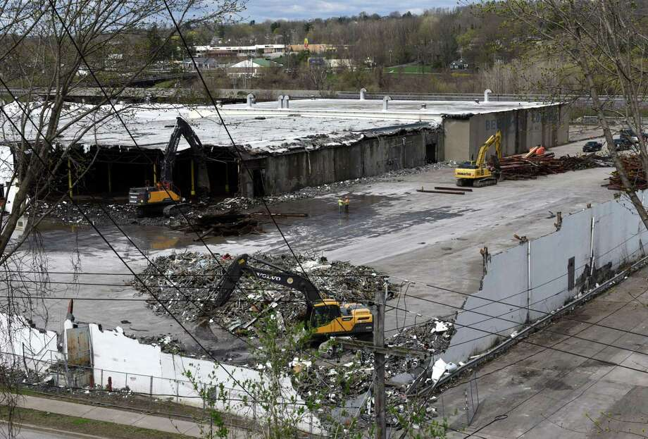 Warehouses at the former Beech Nut baby food factory are demolished on Monday, April 22, 2019, in Canajoharie, N.Y.  (Will Waldron/Times Union) Photo: Will Waldron