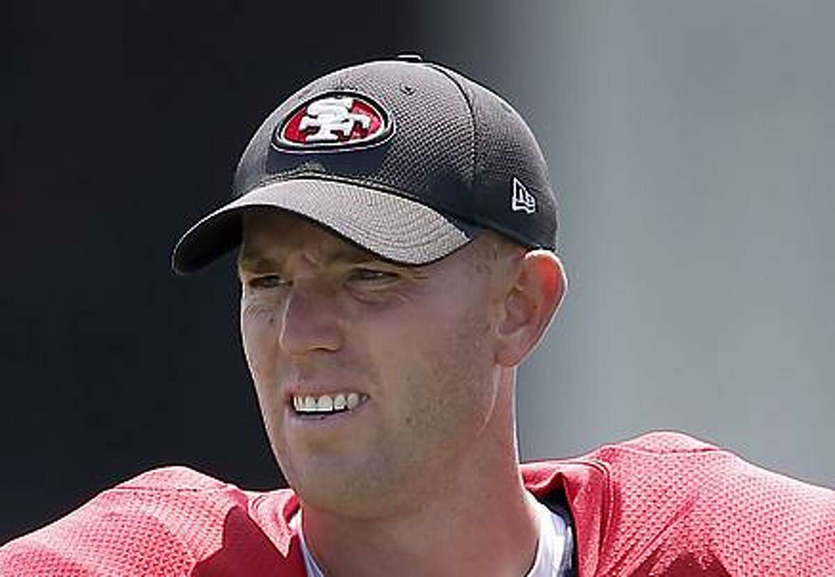 San Francisco 49ers kicker Robbie Gould watches practice drills from the sidelines during practice at the San Francisco 49ers training facility on Wednesday, August 23, 2017, in Santa Clara, California.