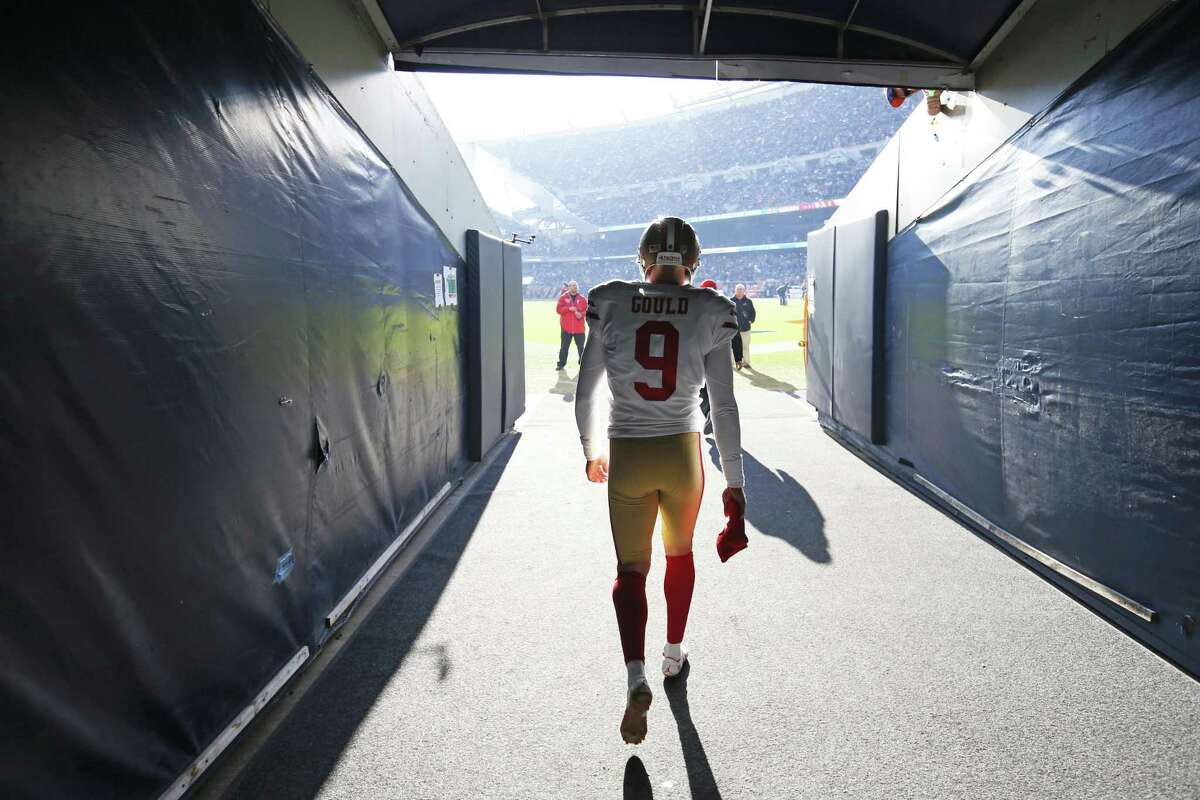 Robbie Gould #9 of the San Francisco 49ers emerges for the tunnel during halftime of the game against the Chicago Bears at Soldier Field on December 3, 2017 in Chicago, Illinois. The 49ers defeated the Bears 15-14.
