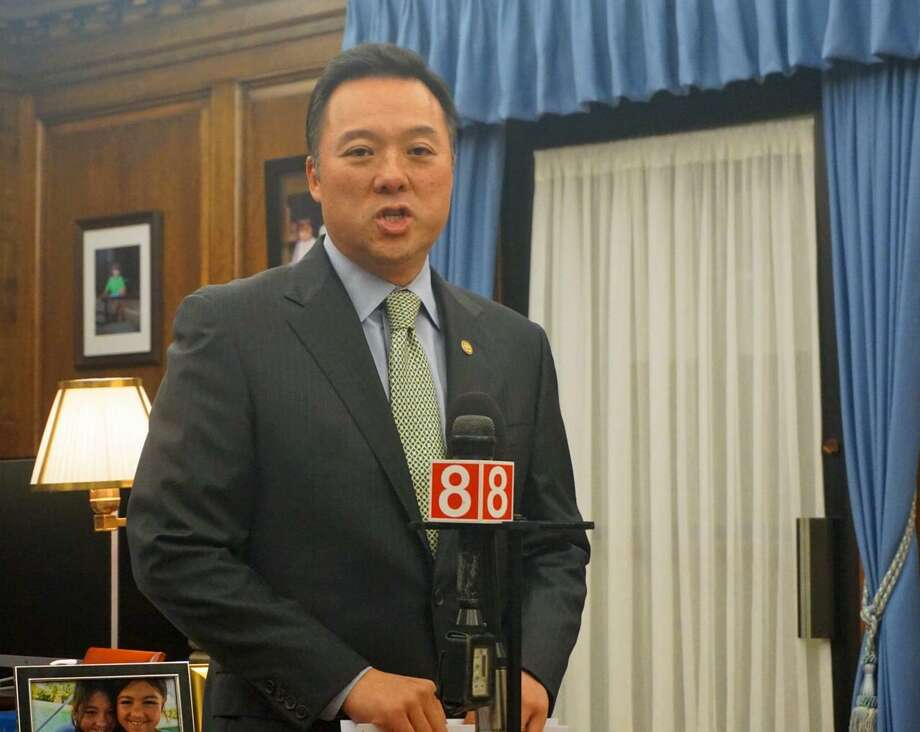 Connecticut Attorney General William Tong unveiled an amended complaint in the state's lawsuit against the Stamford-based opioid-maker Purdue Pharma and its owners, the Sackler family, on April 22. Photo: Emilie Munson / Hearst Connecticut Media / Connecticut Post