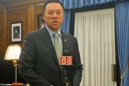 Connecticut Attorney General William Tong unveiled an amended complaint in the state's lawsuit against the Stamford-based opioid-maker Purdue Pharma and its owners, who are members of the Sackler family, on Monday, April 22, 2019 at the Office of the Attorney General in Hartford, Conn.