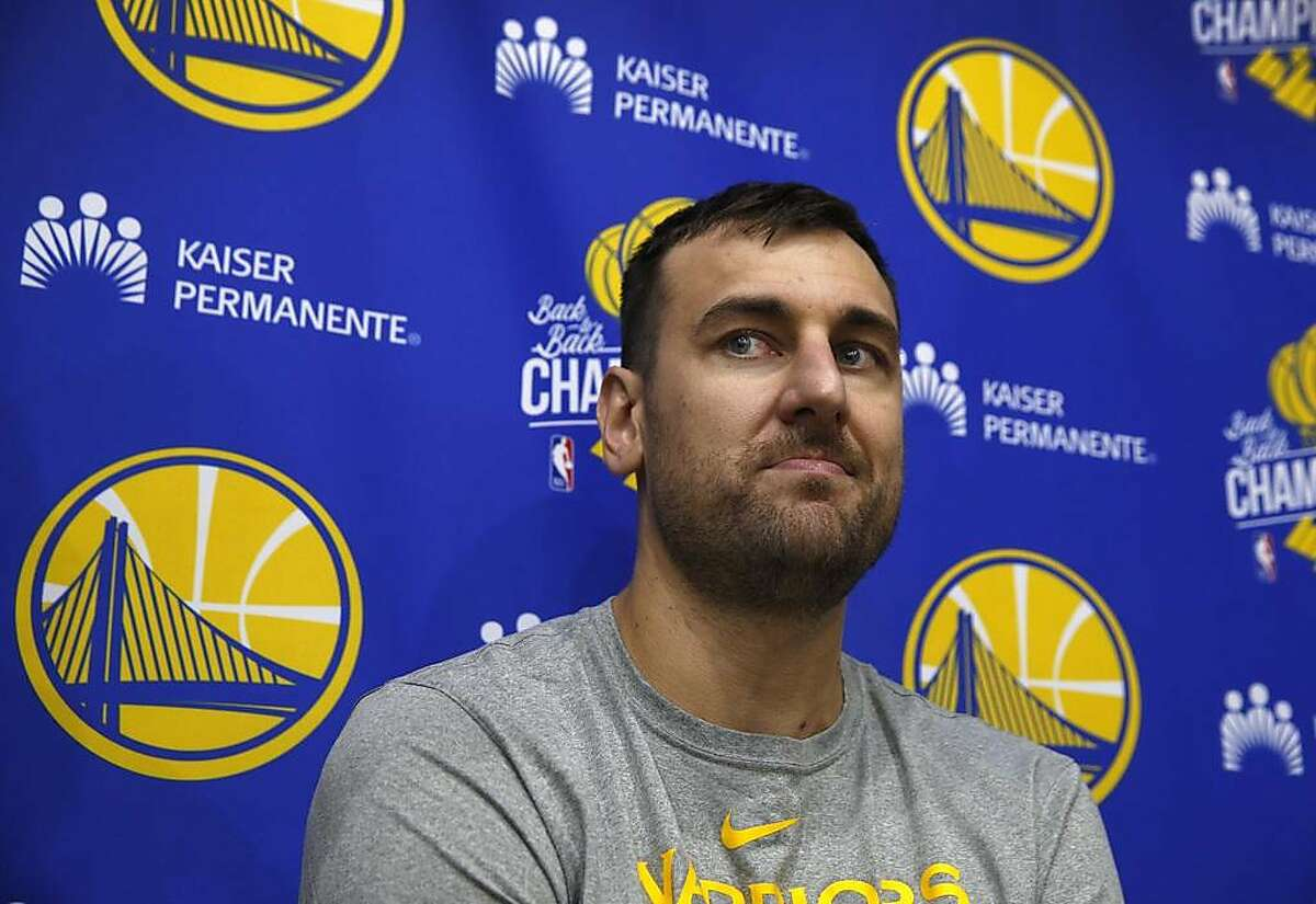 Andrew Bogut meets with sportswriters after a Golden State Warriors practice session in Oakland, Calif. on Tuesday, April 23, 2019 before Game 5 of the first round against the Los Angeles Clippers Wednesday night.