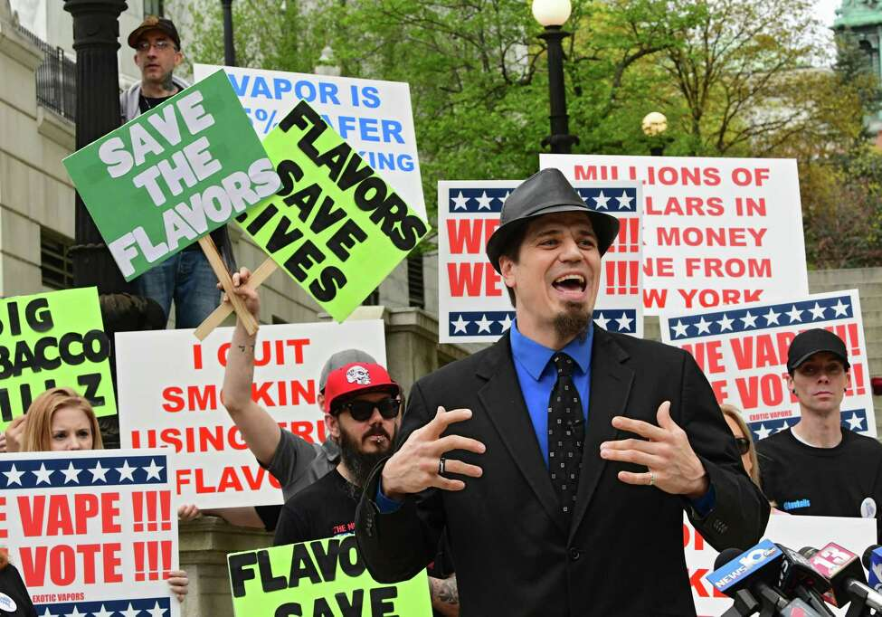 Andrew Osborne, vice president of the New York State Vapor Association, speaks as vaping advocates and consumers rally outside Albany County Courthouse to oppose ban on flavored tobacco products on Tuesday, April 23, 2019 in Albany, N.Y. (Lori Van Buren/Times Union)