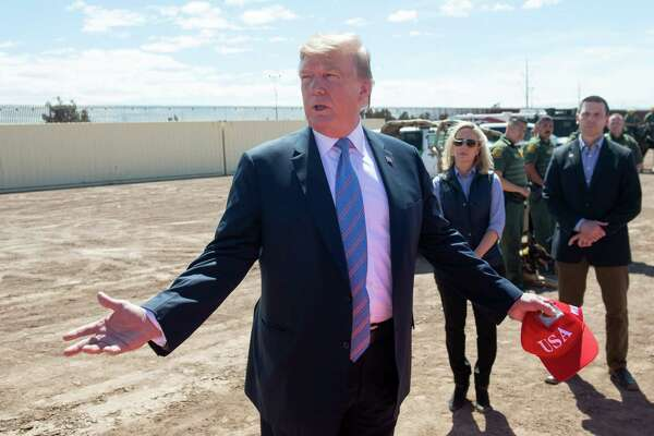 "President Donald Trump tours the border between the United States and Mexico in Calexico, Calif., on April 5. Democrats accuse Donald Trump of creating ""manufactured chaos"" at the border with a plan to transfer undocumented migrants to sanctuary cities. What hypocrisy."