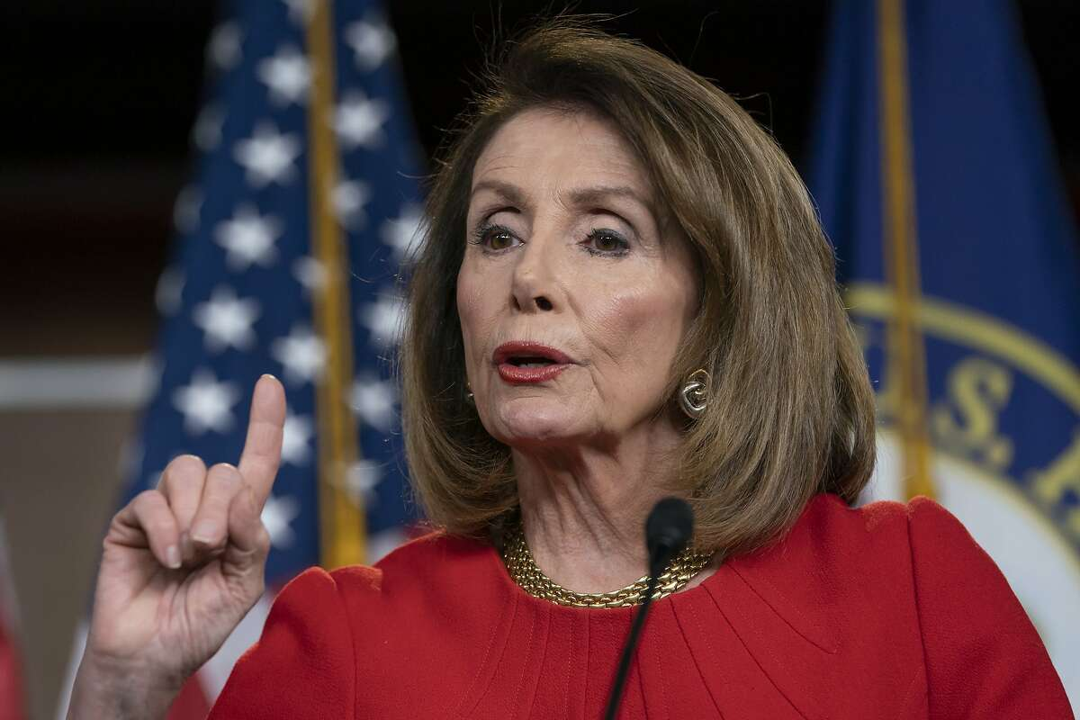 FILE - In this April 4, 2019 file photo, Speaker of the House Nancy Pelosi, D-Calif., talks during a news conference on Capitol Hill in Washington.