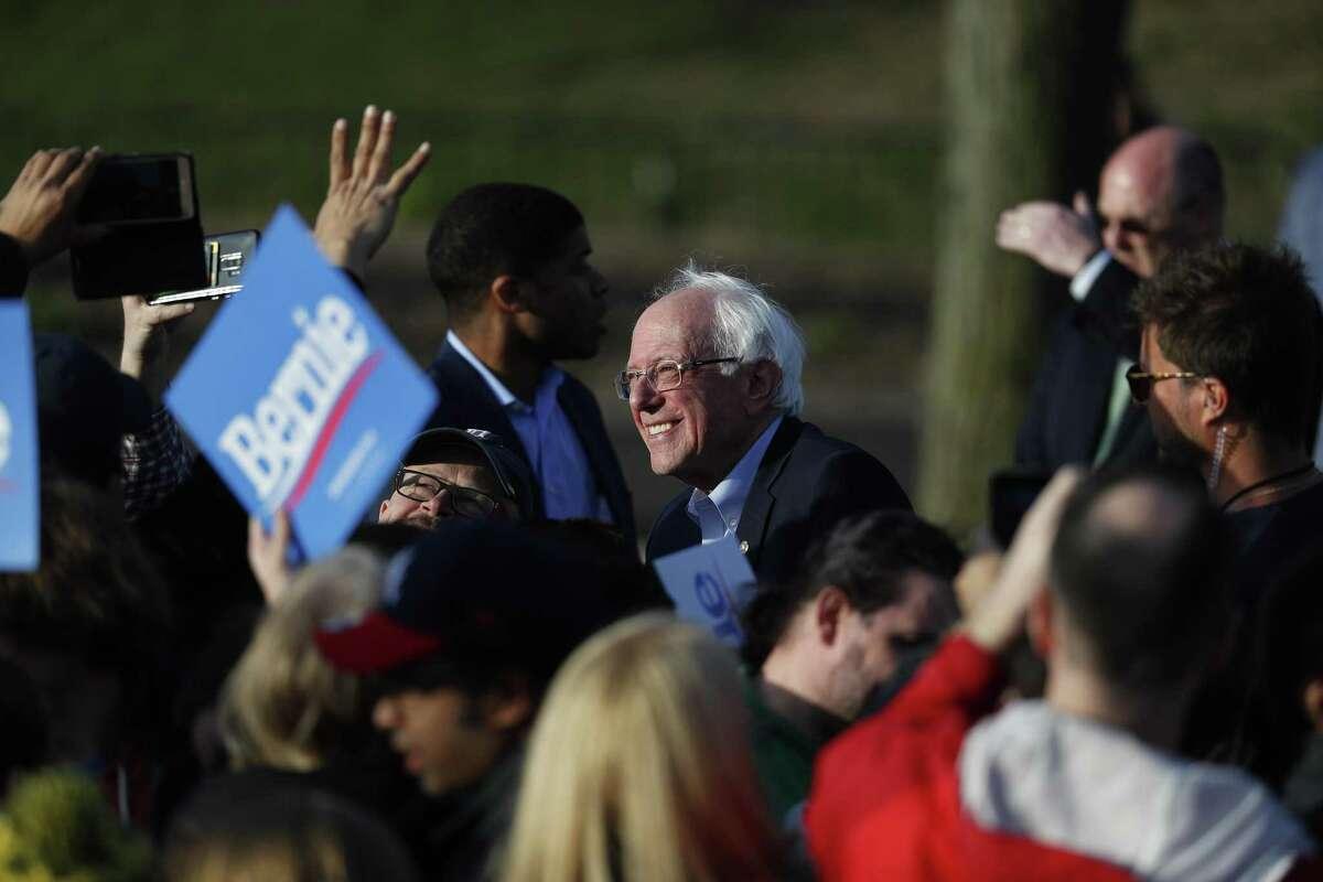Democratic presidential candidate Sen. Bernie Sanders, I-Vt., speaks during a rally in Warren, Mich., Saturday, April 13, 2019. (AP Photo/Paul Sancya)