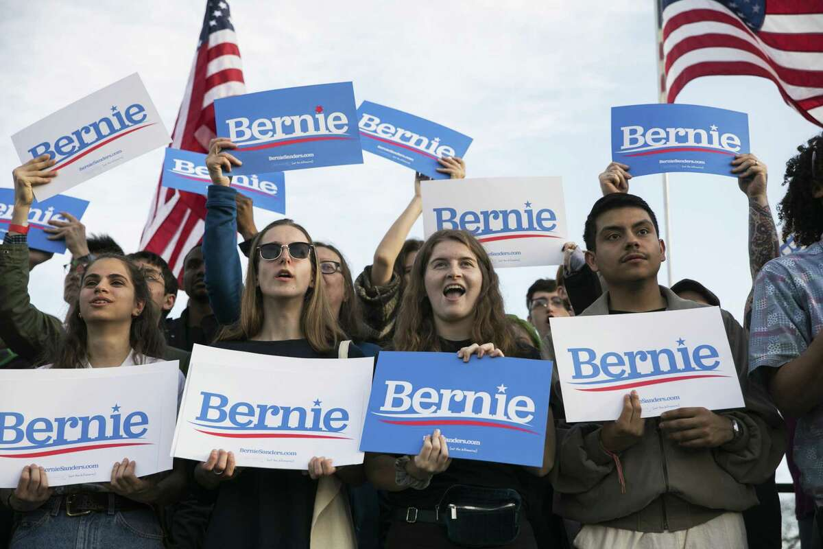 FILE-- Supporters at a rally for Sen. Bernie Sanders (I-Vt.), a Democratic presidential hopeful, in Pittsburgh, April 14, 2019. Democratic 2020 hopefuls have taken note of the potential power of millennial and Generation Z Voters. But effectively reaching them is the hard part. (Maddie McGarvey/The New York Times)