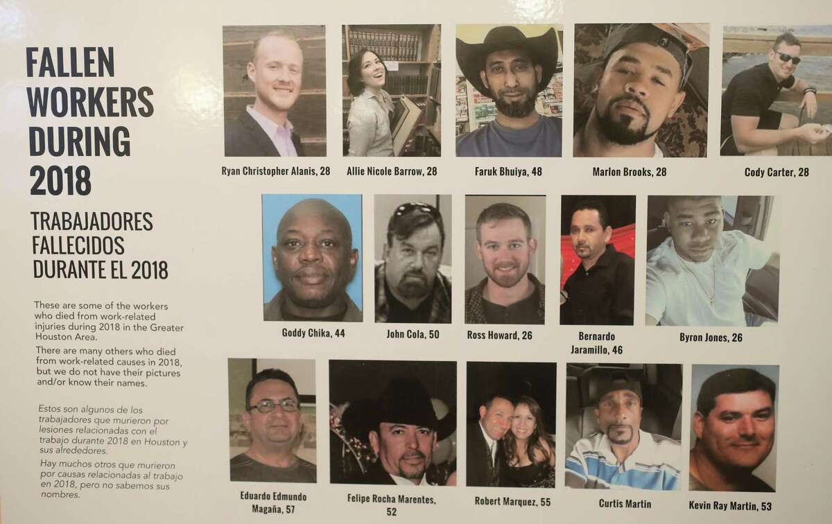 A poster with the faces of workers who died in 2018 during a press conference Tuesday, April 23, 2019, in Houston. The press conference held by the Fe y Justicia Worker Center on the 101 workers who died on the job in Houston in 2017 according to the latest available data from the Bureau of Labor Statistics.