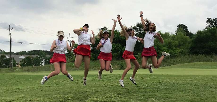 The Hardin-Jefferson girls golf team celebrates qualifying for state on Tuesday afternoon in Huntsville. Photo provided by Elizabeth Townsend. Photo: Elizabeth Townsend