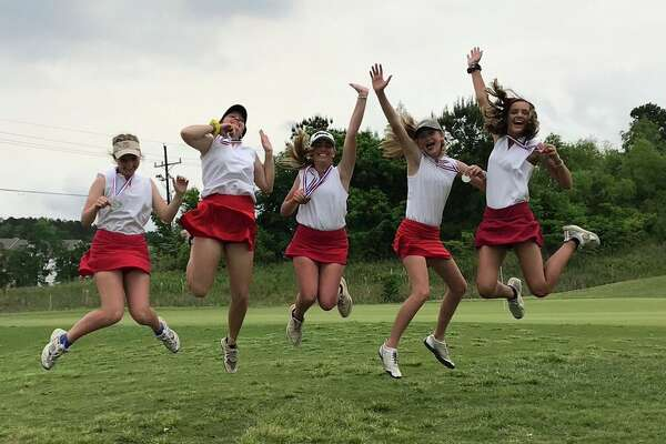 The Hardin-Jefferson girls golf team celebrates qualifying for state on Tuesday afternoon in Huntsville. Photo provided by Elizabeth Townsend.
