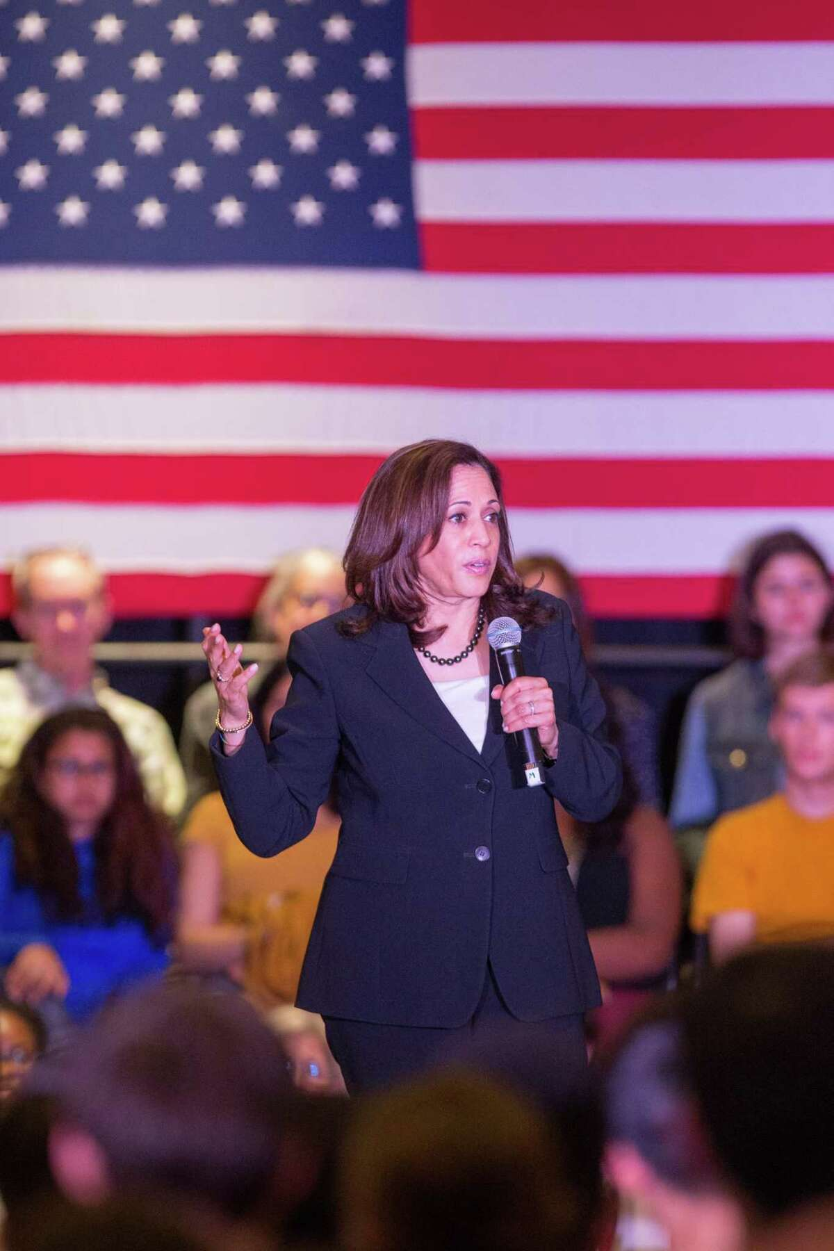 FILE -- Democratic Presidential candidate Sen. Kamala Harris, D-Calif. Harris clarified her position on whether she felt prisoners should be allowed to vote, after telling a town hall that she would be willing to have a conversation about it.