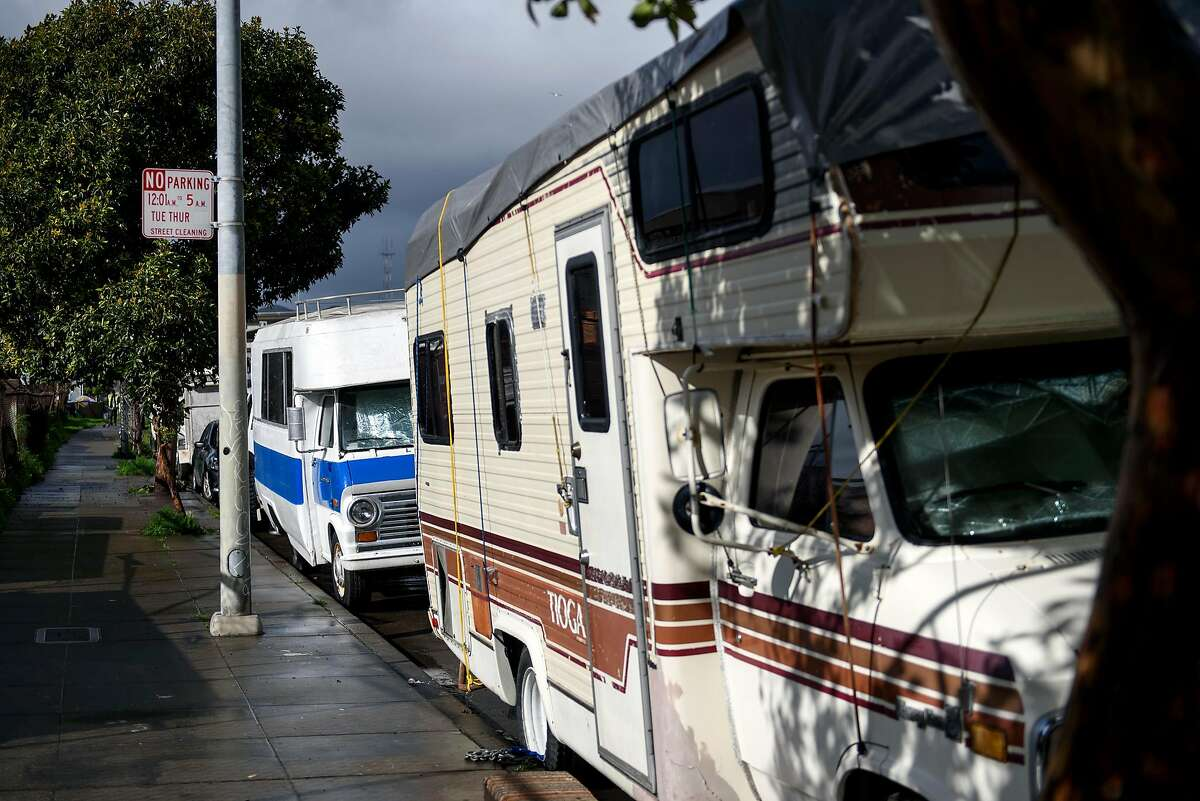 RV's are seen lined up on Caesar Chavez Street in San Francisco, Calif., on Monday, February, 2019. San Francisco Supervisor Vallie Brown is proposing legislation designed to help people camping in their cars and RV's by giving them a designated and safe place to park.