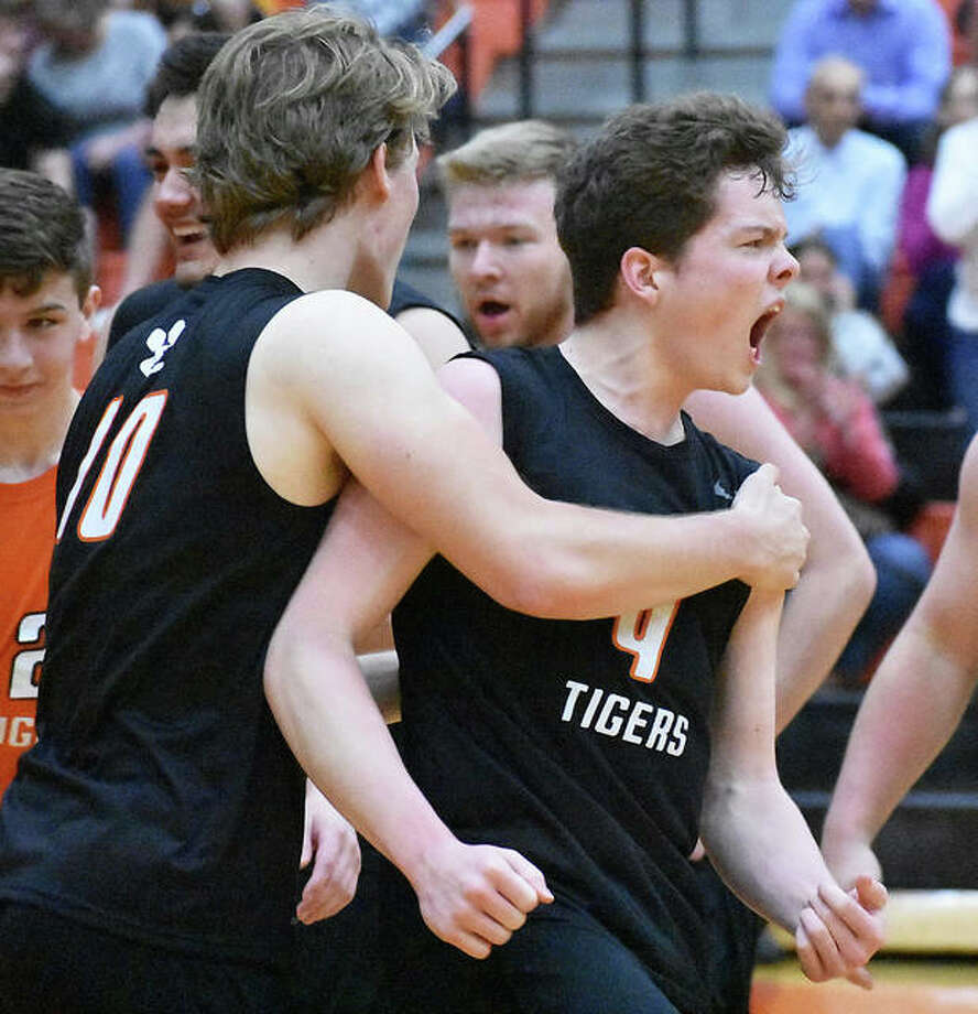 Edwardsville's Max Sellers celebrates after his team's two-game win over O'Fallon on Tuesday in Edwardsville. Photo: Matt Kamp/The Intelligencer
