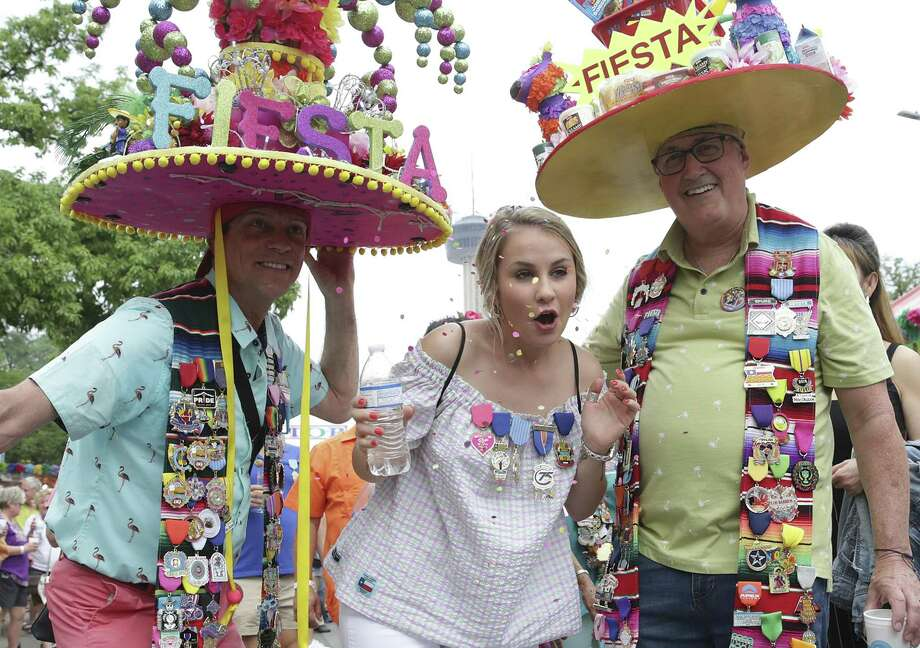 Hunter Lopez center poses for a photo with Tye Wichert,left, and Guy Pritchard during NIOSA on April 23, 2019. Photo: Tom Reel, Staff / Staff Photographer / 2019 SAN ANTONIO EXPRESS-NEWS