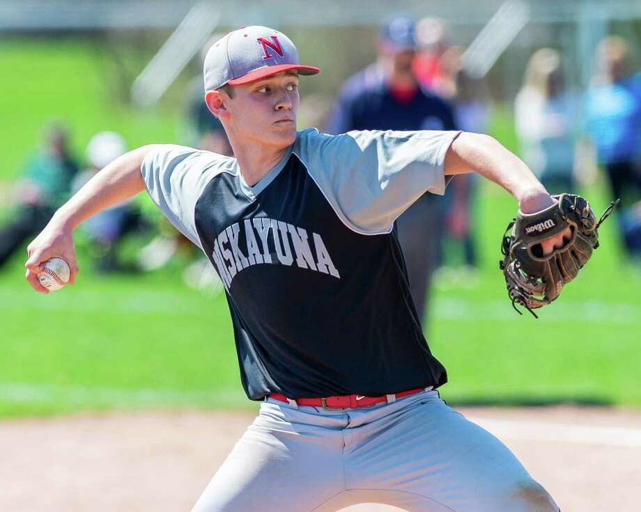 Niskayuna pitcher Cole Hedden during a Suburban Council matchup against Guilderland at Guilderland High School on Tuesday, April 23 (Jim Franco/Special to the Times Union.)