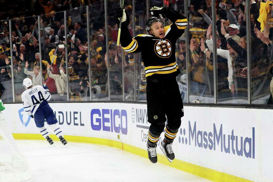 BOSTON, MASSACHUSETTS - APRIL 23: Sean Kuraly #52 of the Boston Bruins celebrates after scoring a goal against the Toronto Maple Leafs during the third period of Game Seven of the Eastern Conference First Round during the 2019 NHL Stanley Cup Playoffs at TD Garden on April 23, 2019 in Boston, Massachusetts. The Bruins defeat the Maple Leafs 5-1.  (Photo by Maddie Meyer/Getty Images) Photo: Maddie Meyer / 2019 Getty Images