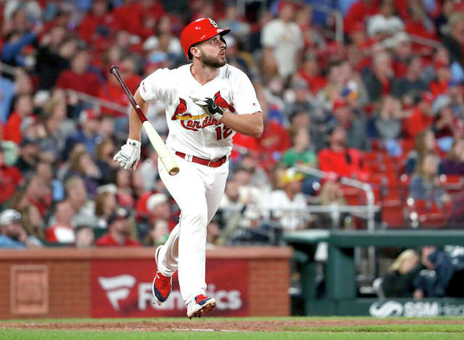 The Cardinals' Paul DeJong tosses his bat while watching his solo home run in the eighth inning of Tuesday night's game against the Milwaukee Brewers Tuesday in St. Louis. Photo: AP Photo