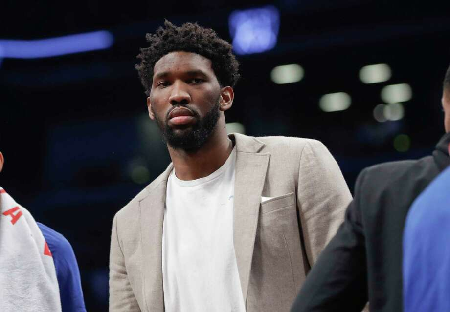 Philadelphia 76ers' Joel Embiid watches during the first half in Game 3 of the team's first-round NBA basketball playoff series against the Brooklyn Nets on Thursday, April 18, 2019, in New York. (AP Photo/Frank Franklin II) Photo: Frank Franklin II / Copyright 2019 The Associated Press. All rights reserved.