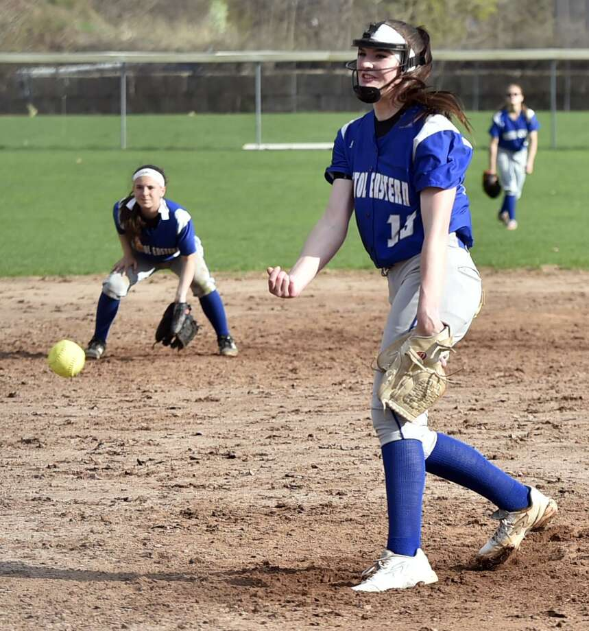Bristol, Connecticut - Tuesday, April 23, 2019Erin Girard of Bristol Eastern H.S. pitches during the fifth inning if softball vs. Amity H.S. Tuesday afternoon at Casey Field in Bristol. Bristol Eastern H.S. defeated Amity H.S. 4-3. Photo: Peter Hvizdak / Hearst Connecticut Media / New Haven Register