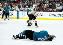 San Jose Sharks' Joe Pavelski is injured in 3rd period against Vegas Golden Knights during Game 7 of NHL Western Conference 1st round playoff game at SAP Center in San Jose, Calif., on Tuesday, April 23, 2019.
