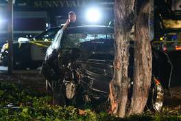 Police investigate the scene of car crash on El Camino Real and Sunnyvale Saratoga Roads in Sunnyvale, which police say struck several pedestrians April 23, 2019.