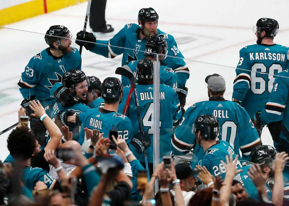 The Sharks celebrate their Game 7 OT defeat of Vegas in the first round of last season's Stanley Cup playoffs. Photo: Josie Lepe / Special To The Chronicle 2019
