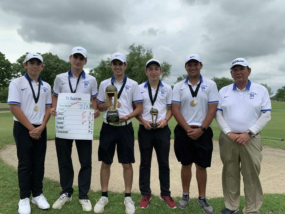 St. Augustine won to the regional title led by Marcelo Garza, third from right, in first place Tuesday. Garza shot a 71 to win the individual title. Photo: Courtesy Of St. Augustine Athletics