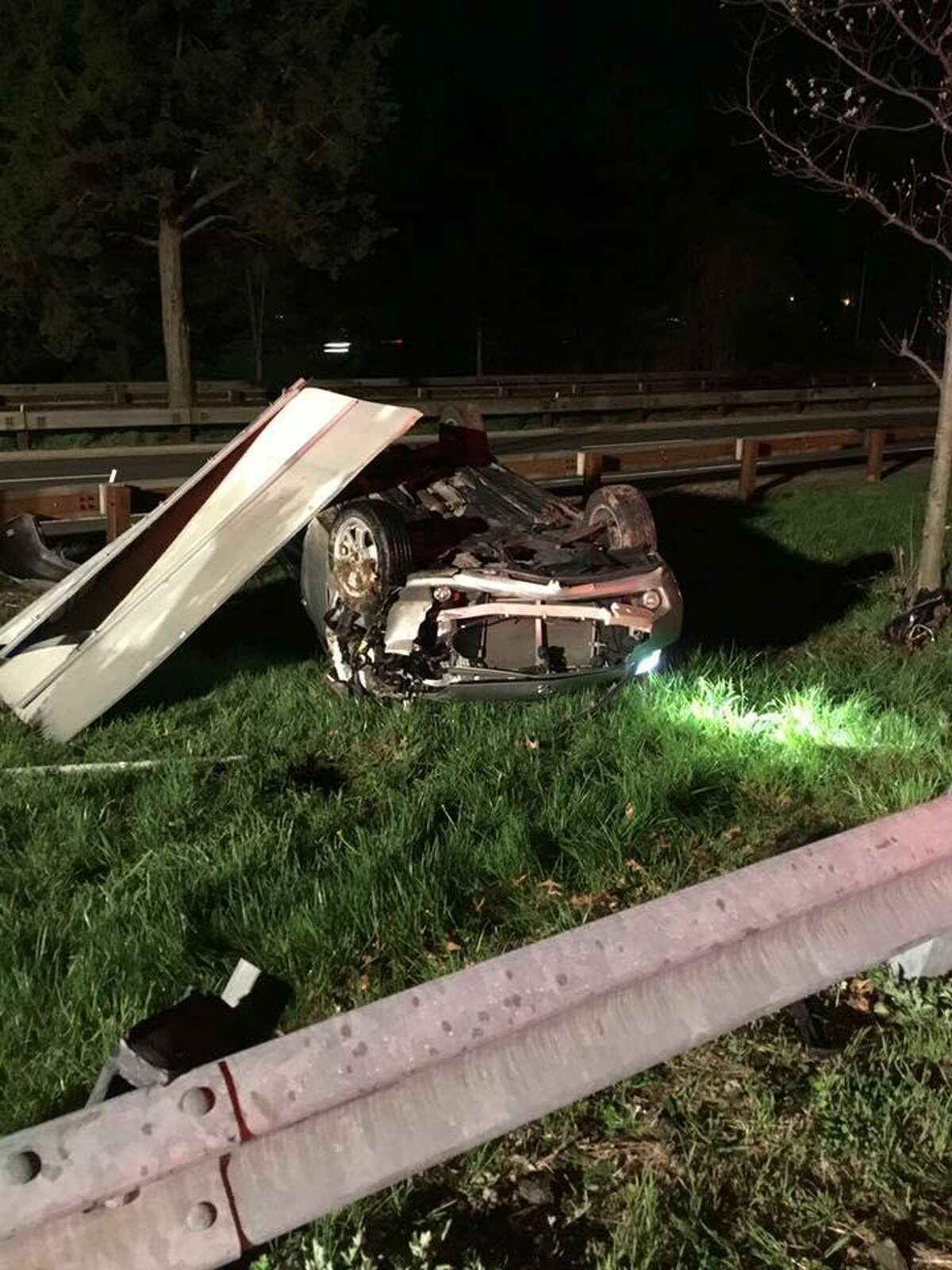 A car struck a guardrail and rolled over on Route 25 on Tuesday, April 23, 2019 in Trumbull. When Trumbull Volunteer Fire Company firefighters arrived they found all the occupants were out of the vehicle.