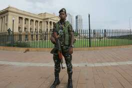A Sri Lankan soldier stands guard outside the Presidential Secretariat building in Colombo, Sri Lanka, on April 22, 2019.