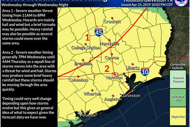 Severe weather is expected in the Houston area Wednesday night into Thursday morning.