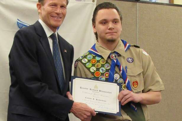 BSA Troop 5 of Brookfield and Troop 65 of Roxbury, Bridgewater and Washington recently recognized Connor Richardson as an Eagle Scout. Senator Richard Blumenthal, left, attended the ceremony and presented Connor with a Senate Award of Special Recognition.
