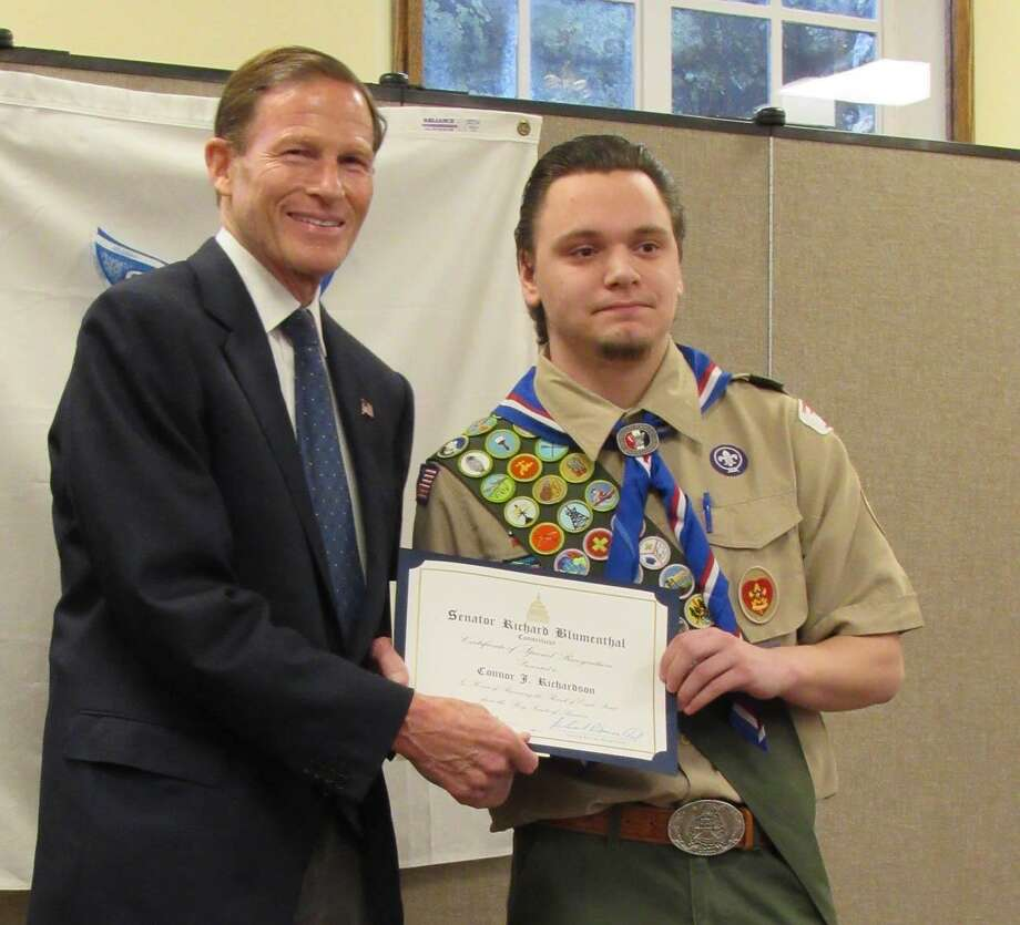 BSA Troop 5 of Brookfield and Troop 65 of Roxbury, Bridgewater and Washington recently recognized Connor Richardson as an Eagle Scout. Senator Richard Blumenthal, left, attended the ceremony and presented Connor with a Senate Award of Special Recognition. Photo: Courtesy Of Lisa Richardson / The News-Times Contributed