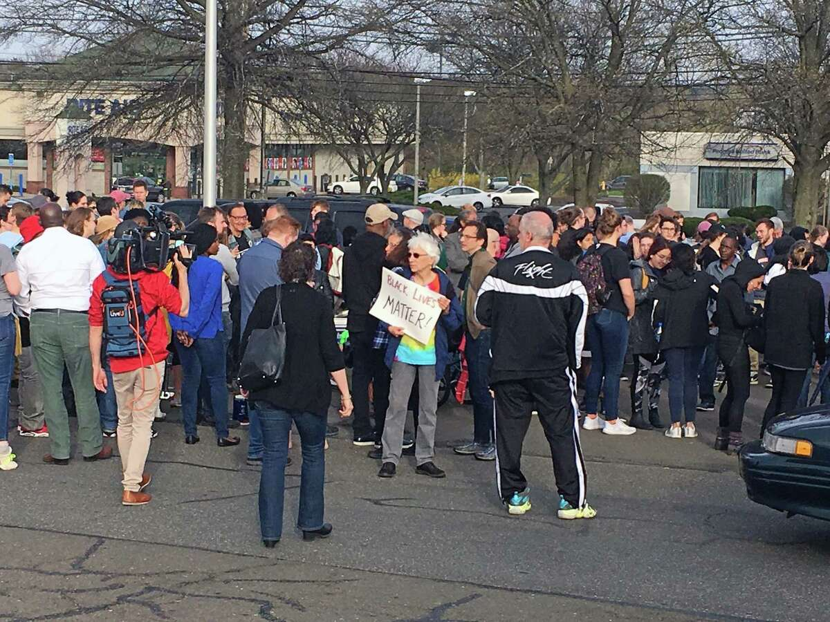 Protestors in Hamden, Conn., on April 19, 2019, in connection with the officer-involved shooting that involved a Hamden police officer and Yale officer.