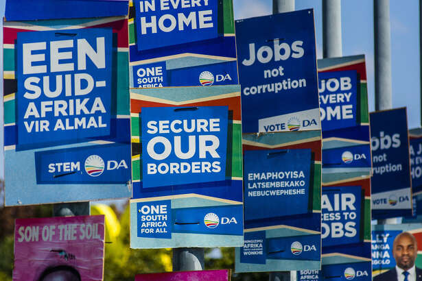 A Democratic Alliance party general election campaign poster reads 'secure our borders' in Pretoria, South Africa, on April 18, 2019.