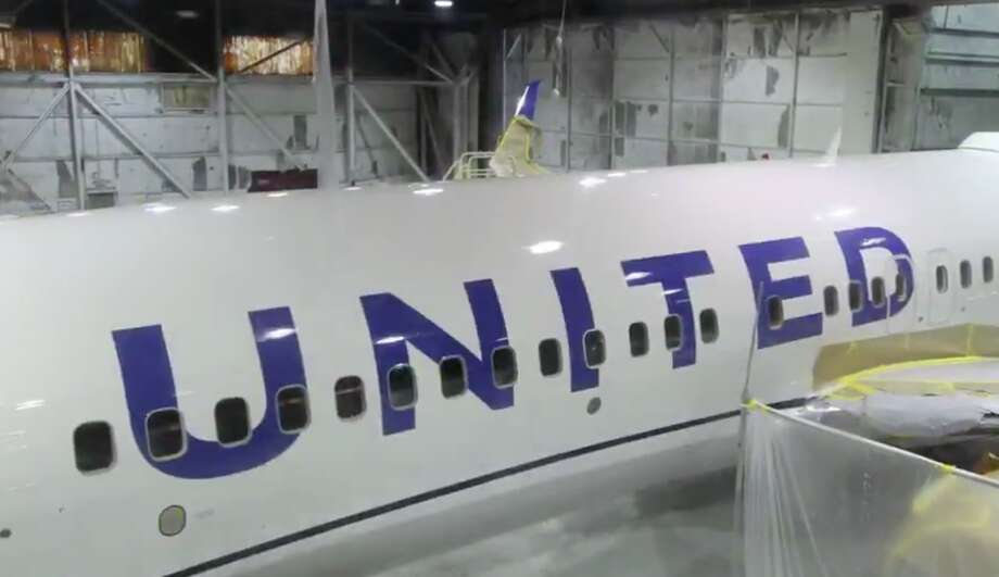 A key feature of United's new livery are giant block letter and a blue and while fuselage Photo: United Airlines